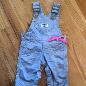 Brand New W/O Tags Oshkosh Gray Sparkle Overalls